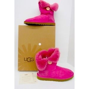 UGG Bright Pink Bailey Button Boot, Size 9